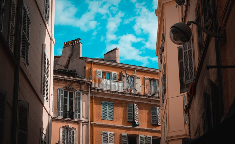 buildings with traditional shutters in Marseille