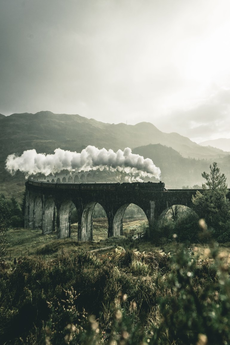 Steam train Scottish countryside