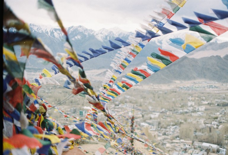 prayer flags in the Himalaya