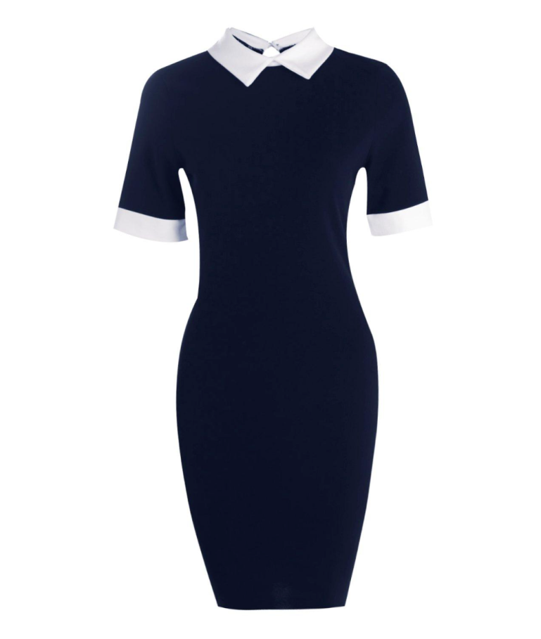 navy bodycon dress with white collar and cuffs