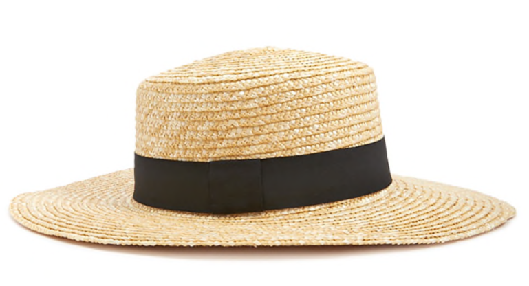 forever 21 straw boater hat with black band