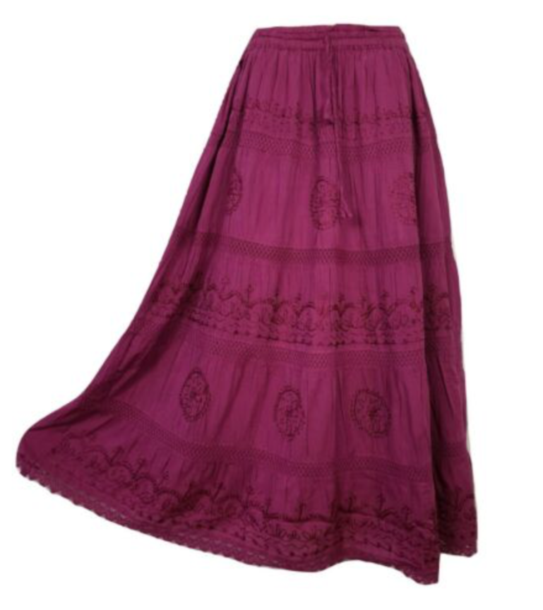 purple lace maxi skirt