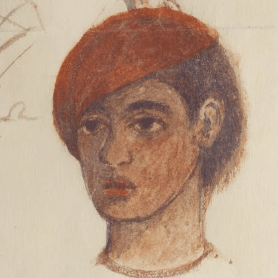 Frida Kahlo self portrait with red cap